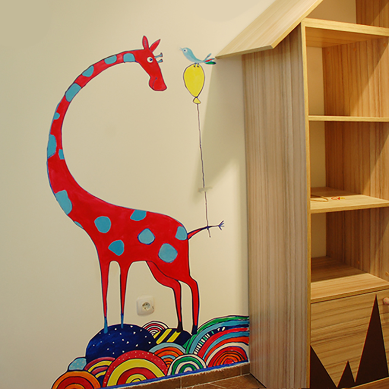 Червен жираф DSC 9320-3 - рисуване с шаблони за стени от Light on Пловдив